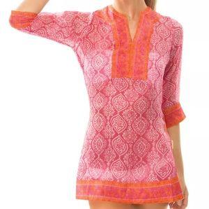 Gretchen Scott Silk Tunic Geometric Easy Breezy
